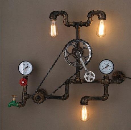 Großhandel Loft Stil Eisen Wasserpfeife Lampe Edison Wandleuchte