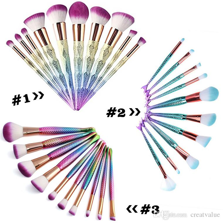 Hot Mermaid Makeup brushes sets cosmetics brush 10 bright color Spiral shank 3D Colorful unicorn screw makeup tools DHL