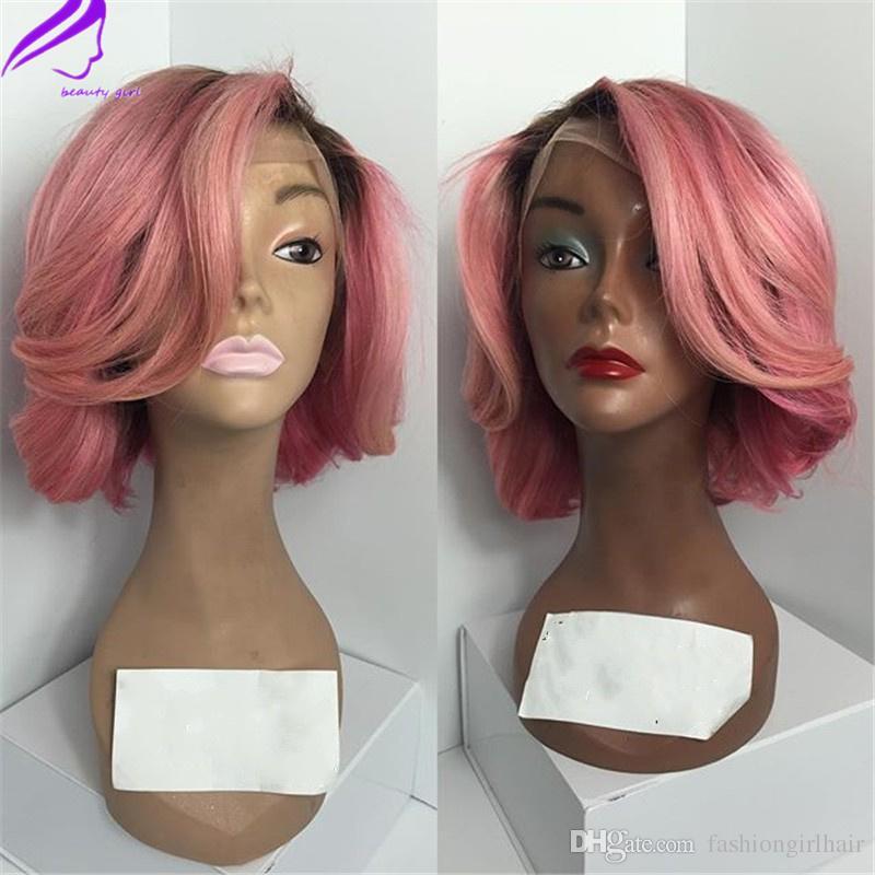 150density naturel ondulé ombre couleur courte en dentelle synthétique perruques rose bob perruque résistant à la chaleur cheveux perruques avec des cheveux de bébé