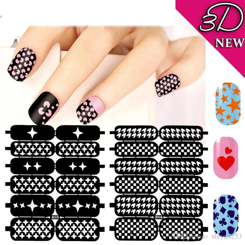 Multiple Use Nail Art Hollow Template Stickers Nails Tips Polish ...