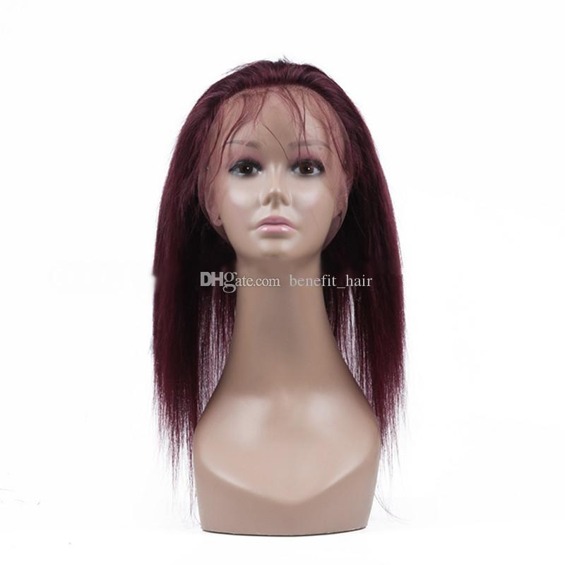 360 Lace Frontal For Malaysian Hair Burgundy Red Color Women Straight 22.5x4x2 Lace Frontal Closures DHL