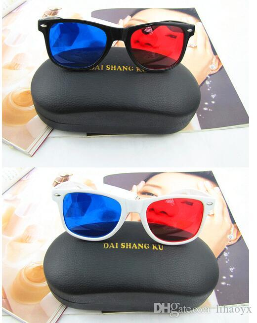 Universal 3D Glasses Red Blue Cyan Black Frame Movie TV/Computer Game DVD Vision/Cinema Anaglyphic 3D Plastic Glasses D048