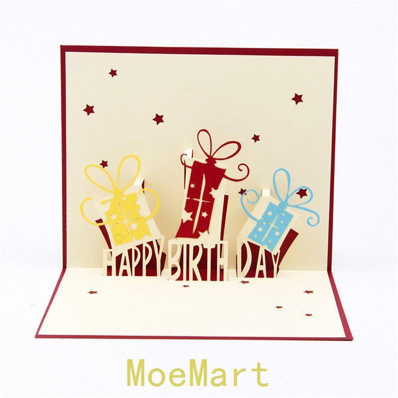 Wholesale 3D Birthday Greeting Card Paper Cut Three Dimensional Creative Custom Cards Handmade Sculptures Free