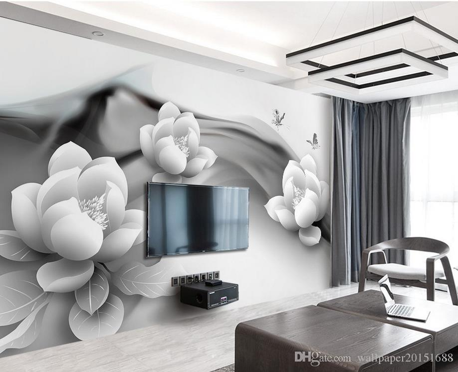 Black and white ink butterfly simple 3d TV background wall mural 3d wallpaper 3d wall papers for tv backdrop
