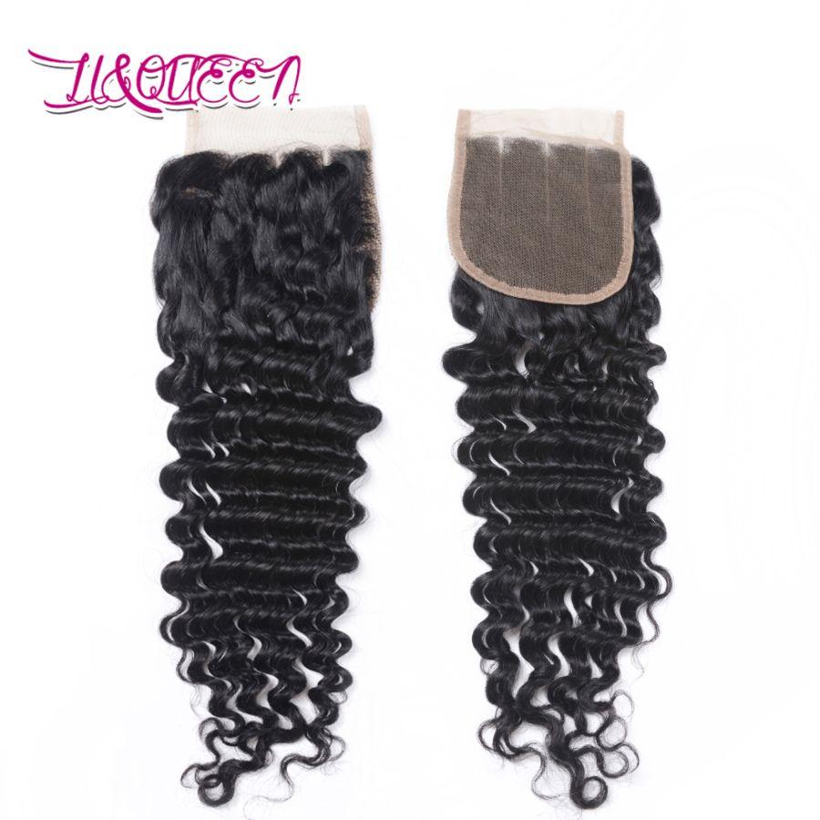 Mongolische Tiefe Welle Menschenhaar 4x4 Spitzeschliessen Unverarbeitete Haarverlängerungen Natürliche Farbe Top-spitze-schliessen Tiefe Welle Lockiges Reines Haar