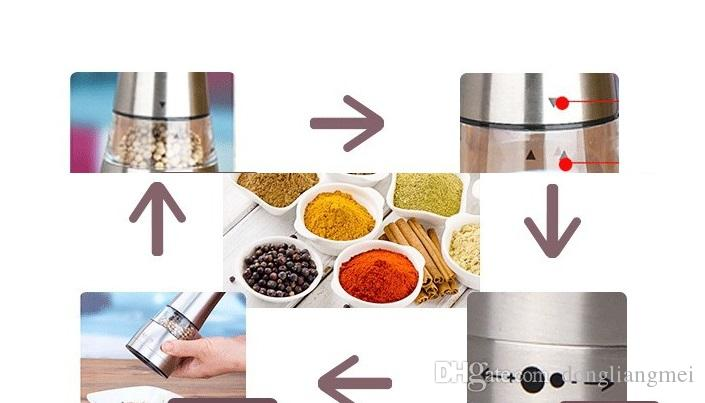Ручная мельница для соли и перца из нержавеющей стали - Элегантная мельница для специй, соли и перца с регулируемым керамическим ротором h148