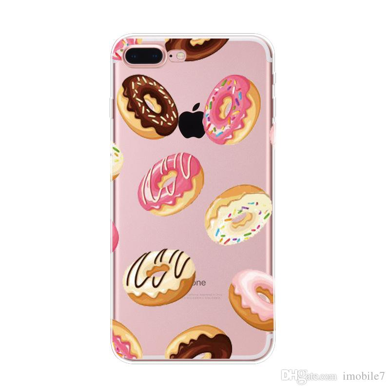 8 styles Rainbow Food Donuts Macaron Pattern Cases Cover For iphone 6 6s 7 7plus Transparent Silicon Protective Phone Shell Coque