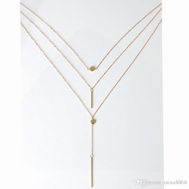 Collar largo para las mujeres Cadena de múltiples capas Gargantilla con cuentas Barra de aleación Collar colgante Charm Collier Colar Longo Collar de mujer