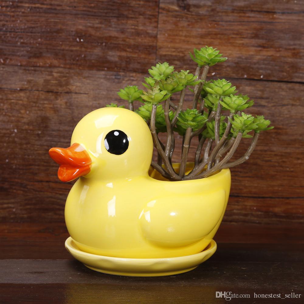2018 Ceramic Cute Yellow Duck Flower Pot Planter Garden Succulent