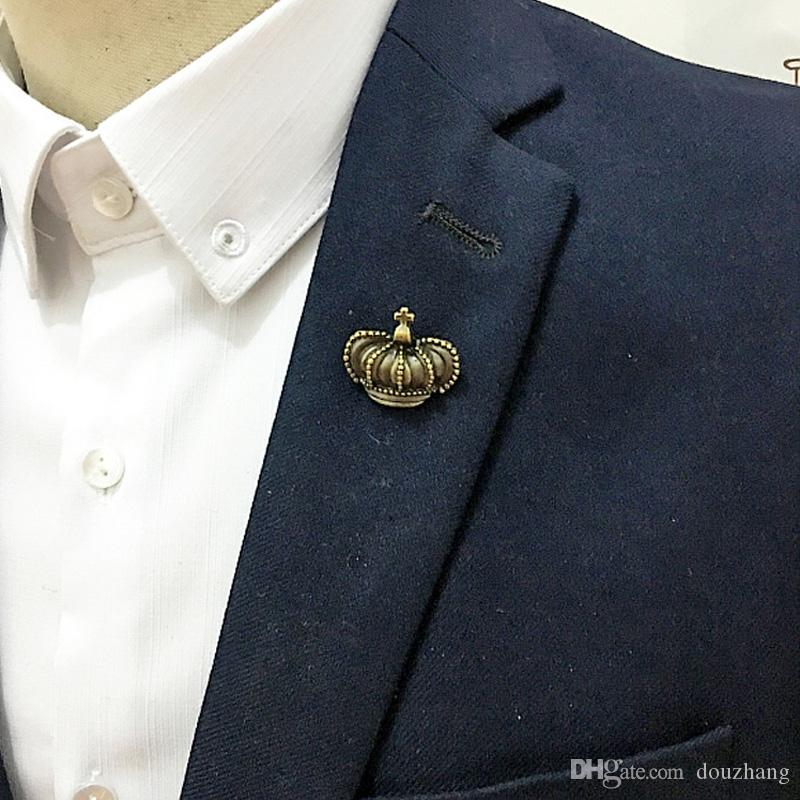 Unisex Alloy Cross Crown Collar Pin Brooch Shirts Brooches For Women Men Accessory