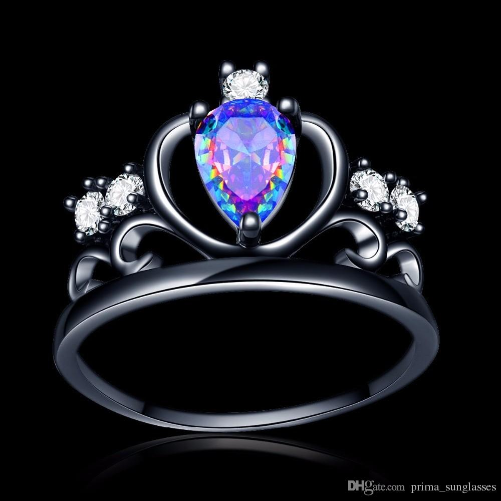 Hot Sell Punk heart dark Princess Queen Crown party Ring Colorful Angel tears zircon 18k black gold filled wedding cocktail alliance