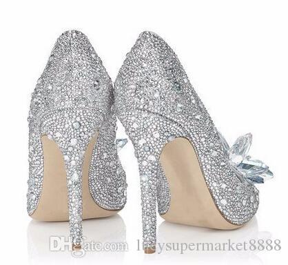 Con le scarpe di Cenerentola bianche Box donne alti che wedding sexy piattaforme signora di cristallo d'argento diamanti Glitter sposa pompa scarpe tacco partito