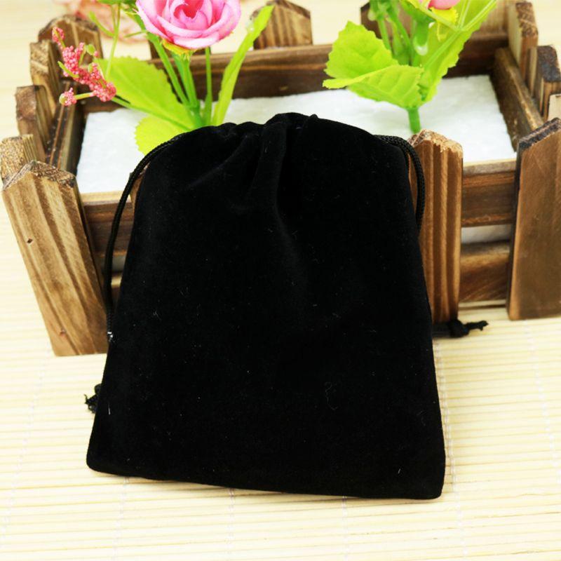 인쇄 로고 큰 벨벳 가방 15 * 20cm 블랙 레드 브라운 패브릭 벨벳 포장 가방 보석 선물 화장품 저장 주머니 끈 주머니