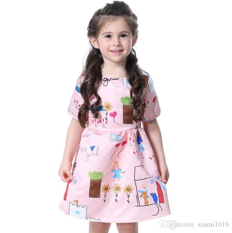 3b49730649bee 2017 Baby Girls Cotton Dress Printed DIY Cartoon Princess Dresses Summer  Short Sleeves Skirt Cute Kids Clothing Wholes Free Shipping