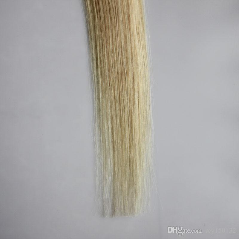Nastro nelle estensioni dei capelli Biondi Capelli Umani # 613 Candeggina Bionda Dritto 30g 40g 50g 60g 70g 20 pezzi nastro di estensione della trama dei capelli della pelle