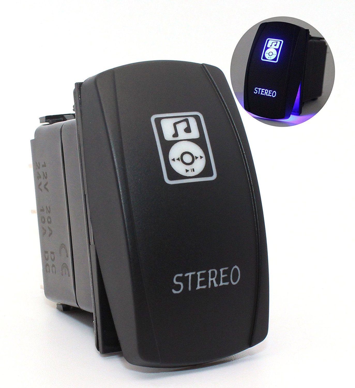 Car Motor Boat Stereo Toggle Switch Laser Blue LED Rocker Switch 5 PINS 20  Amp 12 Volt Rocker Switch