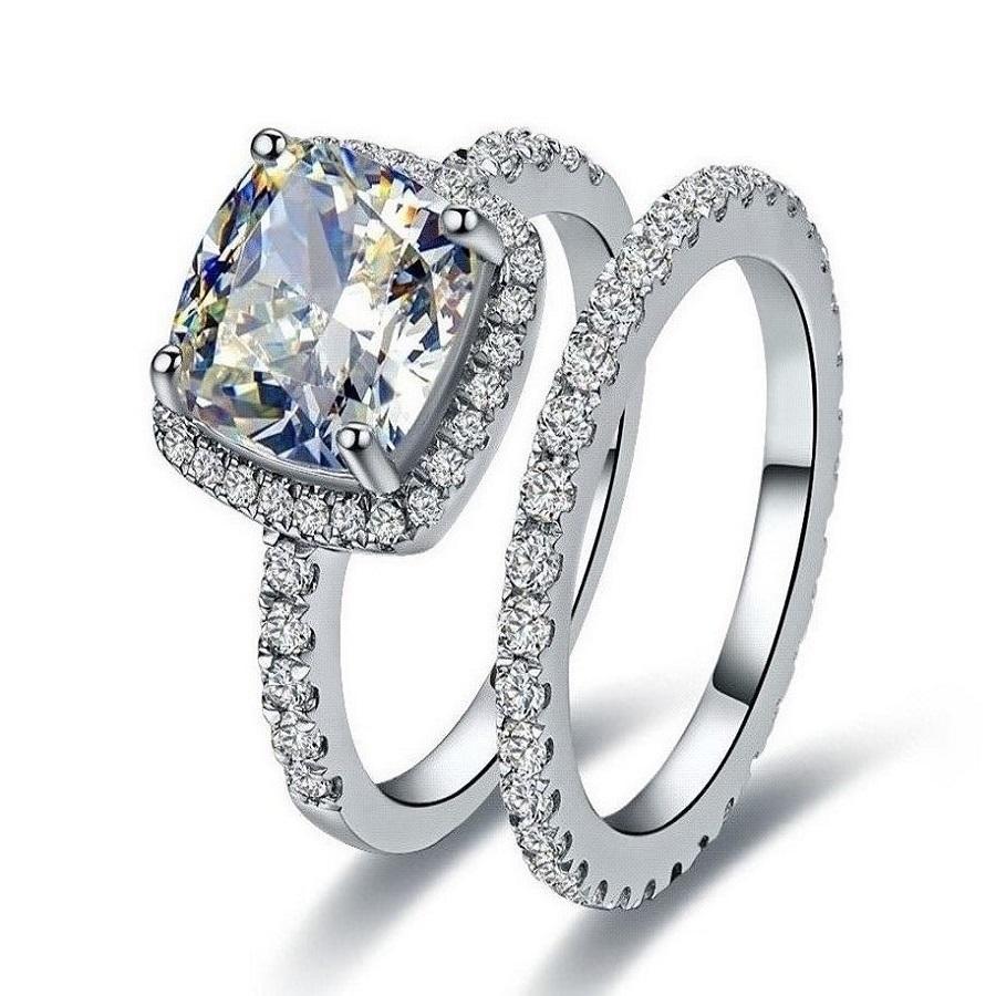 Grosshandel 3ct Cushion Cut Klar I J Vvs1 Synthetischer Diamant Set