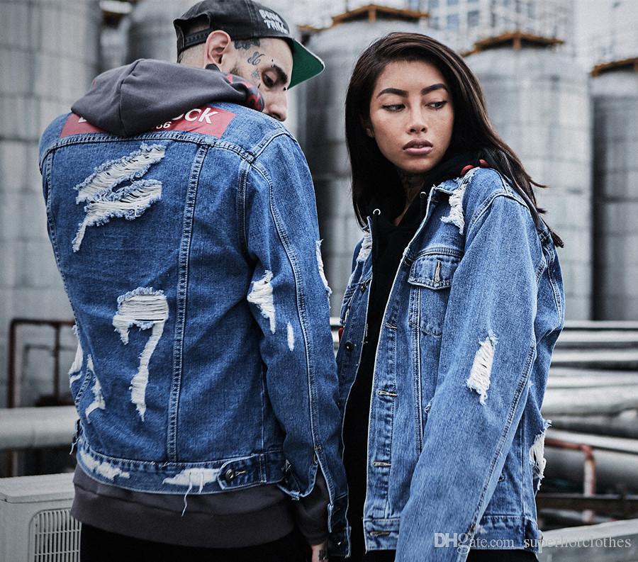 f754c133db Graffiti Letter Men Ripped Denim Jackets Mens 2017 Printed Jeans Women Coat  Hip Hop Casual Cotton Blue Biker Denim Holes Coats Jackets Men Jacket Men  From ...