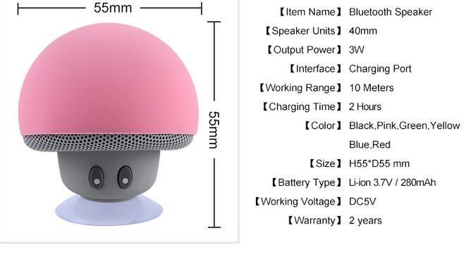 Orador sem fio impermeável de Bluetooth do orador estereofónico portátil do cogumelo mini Bluetooth com o Mic para o computador do telefone móvel