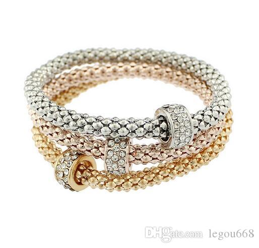 Europe and the United States bursts bracelet alloy three - color suit stretch corn chain diamond bracelet