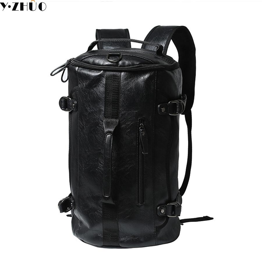 Wholesale- Y.ZHUO high quality leather man backpacks unisex vintage duffel bag large capacity shoulder Laptop bag men messenger travel bag