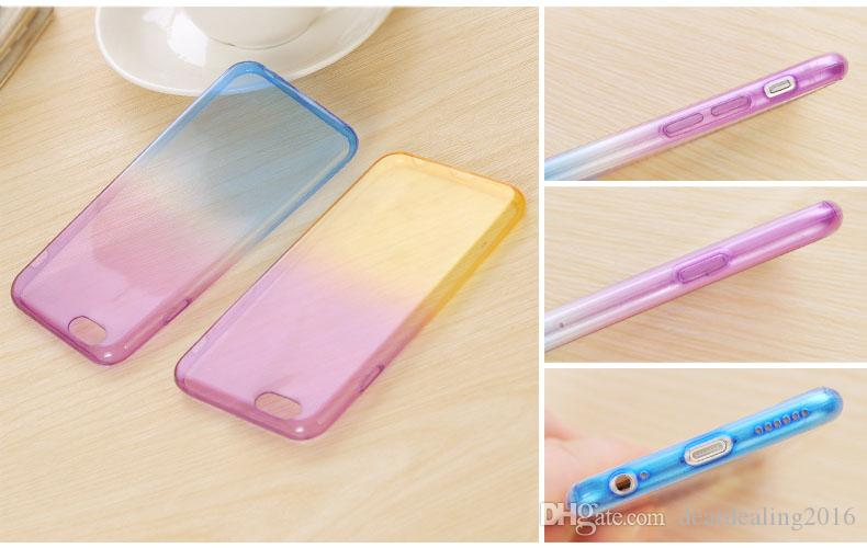 Fashion For iPhone 6S Plus 6 Covers Soft TPU Gradient Color Back Cover Case for Apple iPhone 7 7Plus 5S SE 4 4S