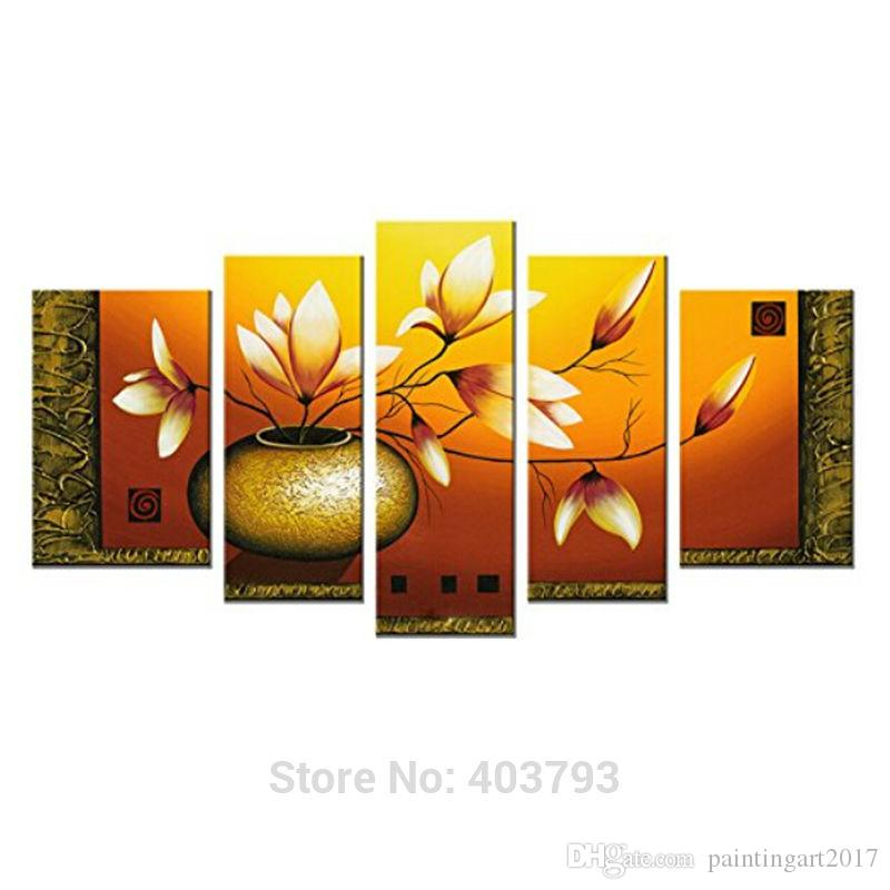 Bottle Elegent Flowers Picture Painting 100% Hand-Painted Modern Oil Paintings On Canvas Wall Art Decoration