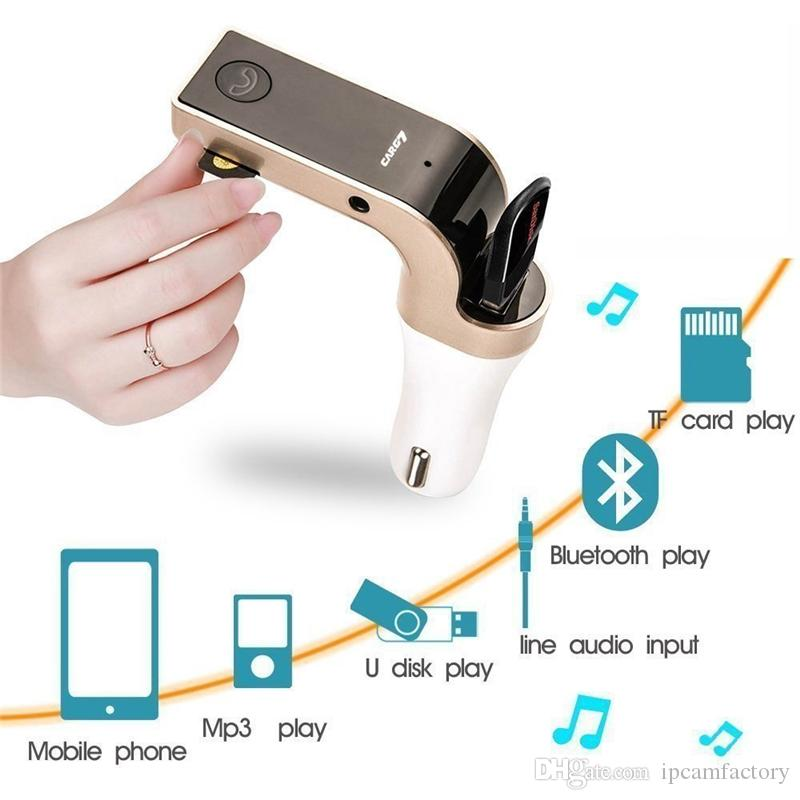 Hot Sales 4-in-1 CAR G7 Bluetooth FM Transmitter With USB Flash Drives /TF MP3 Music Player Bluetooth Car kit USB Car charger In Retail Box