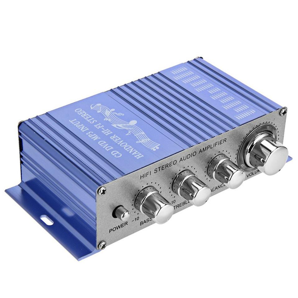12V HY-2002 Mini Amplifier FM Auto Car Stereo Amplifier Channel Audio Support CD DVD MP3 Speaker Input for Car and Motorcycle