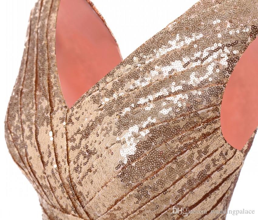 2018 Mais recente Em Estoque Com Decote Em V Curto Vestidos de Noite Na Altura Do Joelho De Lantejoulas Rendas Formal Vestidos de Noite Vestidos de Festa