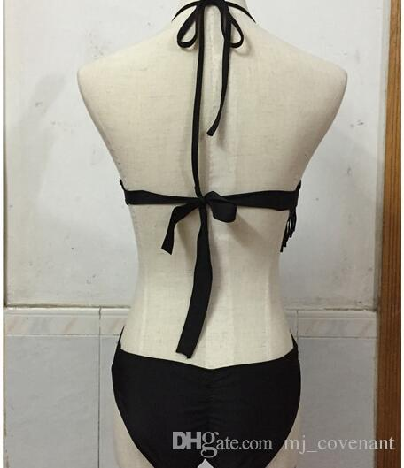 أزياء ملابس السباحة Monokini مثير في ملابس الرسن الأسود مع منصات القابلة للإزالة