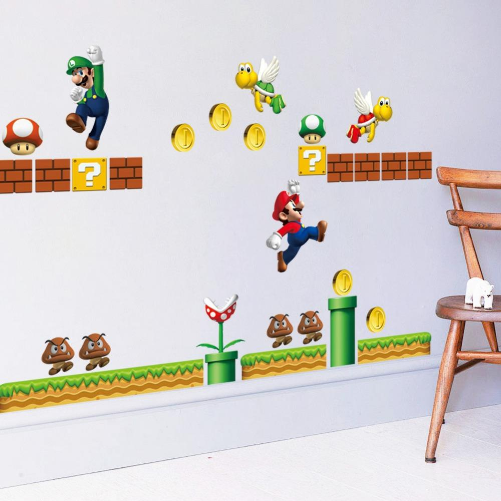 3d cartoon super mario wall stickers for kids room liviing room see larger image