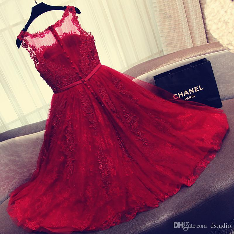 Dark Red Lace Prom Dress 2017 Stunning Major Beading Layers Tulle Lace with Applique Sequins Zipper with Buttons Back Party Dress Evening