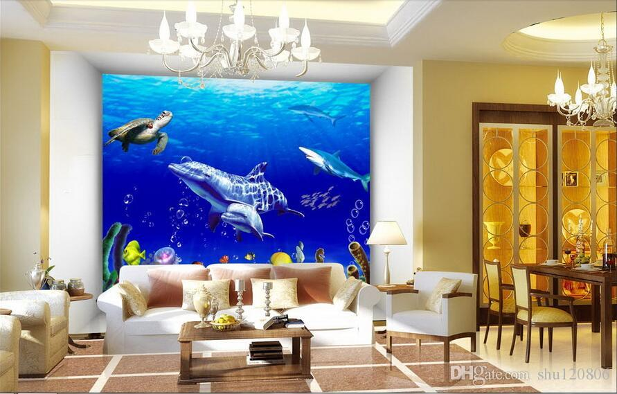 3d oda duvar kağıdı özel fotoğraf Sualtı Dünyası Balina Kaplumbağa dekorasyon boyama resim 3d duvar resimleri duvarlara 3 d için duvar kağıdı