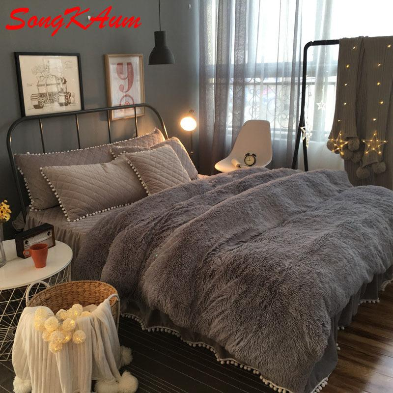 European Royal Mink Velvet Bedding Sets Super Warm Solf Winter Crystal  Velvet Duvet Cover Bedclothes Bed Sheet Queen King Size Bedding Clearance  Mens Duvet ...