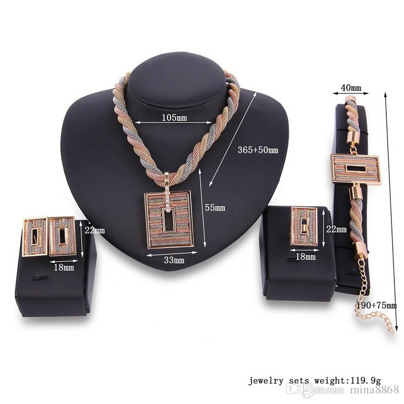 Fashion Women 18k Gold Plated Africa Wedding Bridals Jewelry set Party Square Necklace Ring Earrings Kit Bridals Dubai Jewelry Set