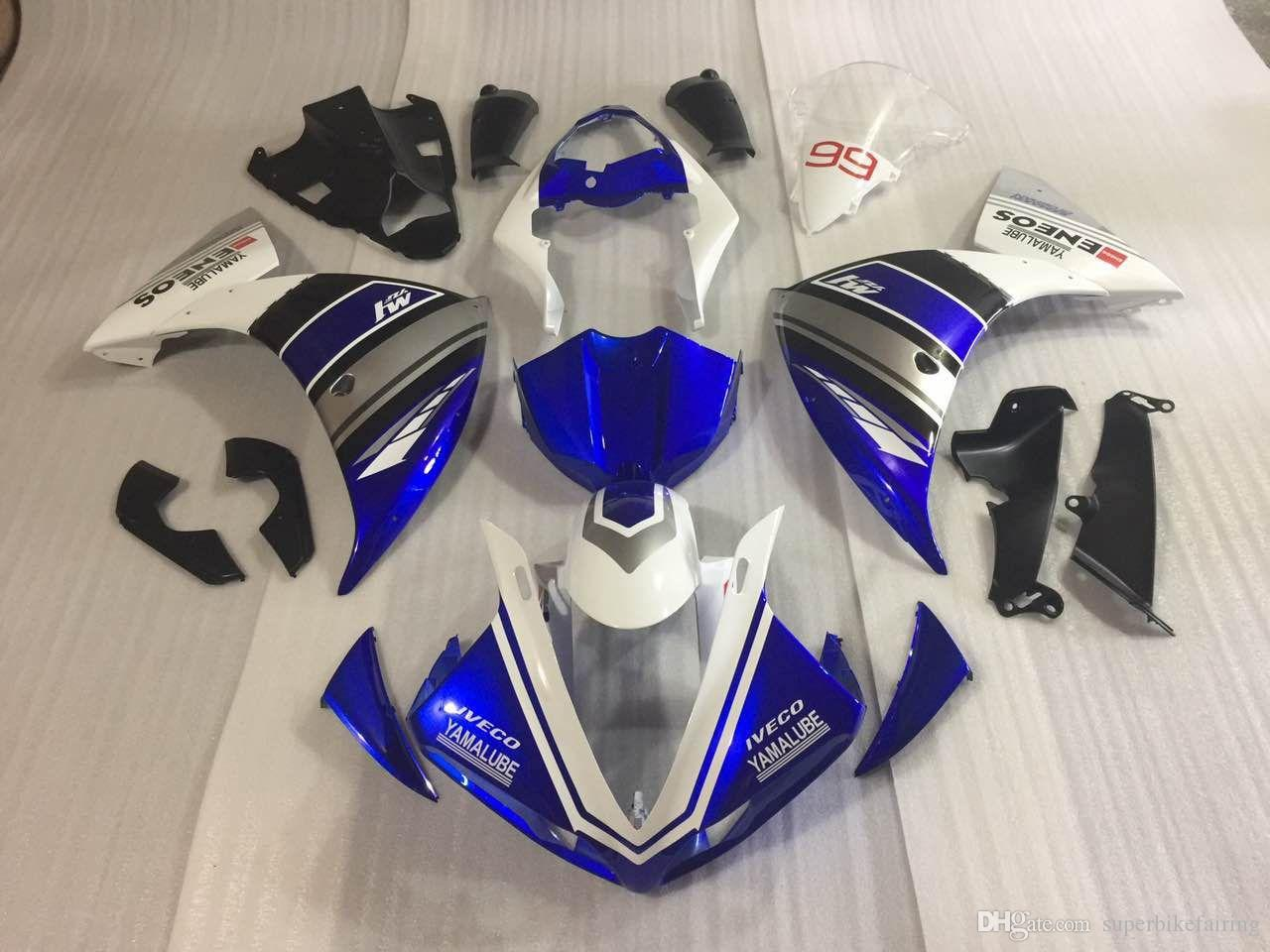 3 Free Gifts New ABS Injection High quality Fairing Kits 100% Fit For YAMAHA YZF1000 R1 YZF-R1 2009 2010 2011 09 10 11 white and blue