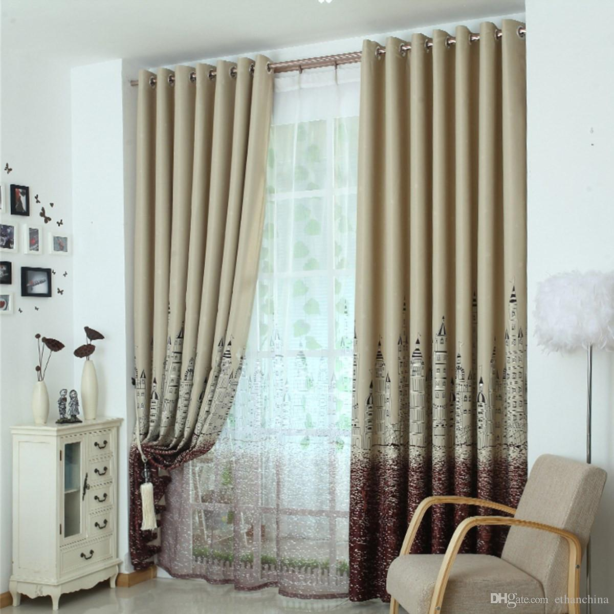 2017 ivolador castle pattern curtains polyester blackout curtain