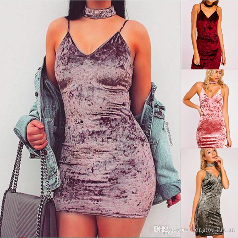 Dress sexy velvet velvet scarf explosion skirt