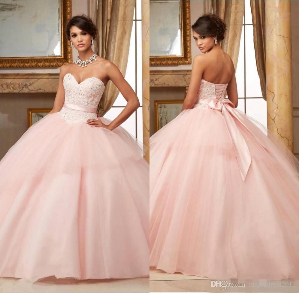 Robes de bal rose robes de quinceanera 2019 dentelle appliques perles rouge feuilletée doux 16 robes robes de 15 longues robes de soirée