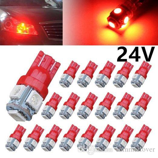 50Pcs/Pack 24V Car Red T10 LED W5W 5SMD Wedge Bulb Light 194 168 2825 501 Side Backup Plate License Brake Dome Reading Tail Super Bright