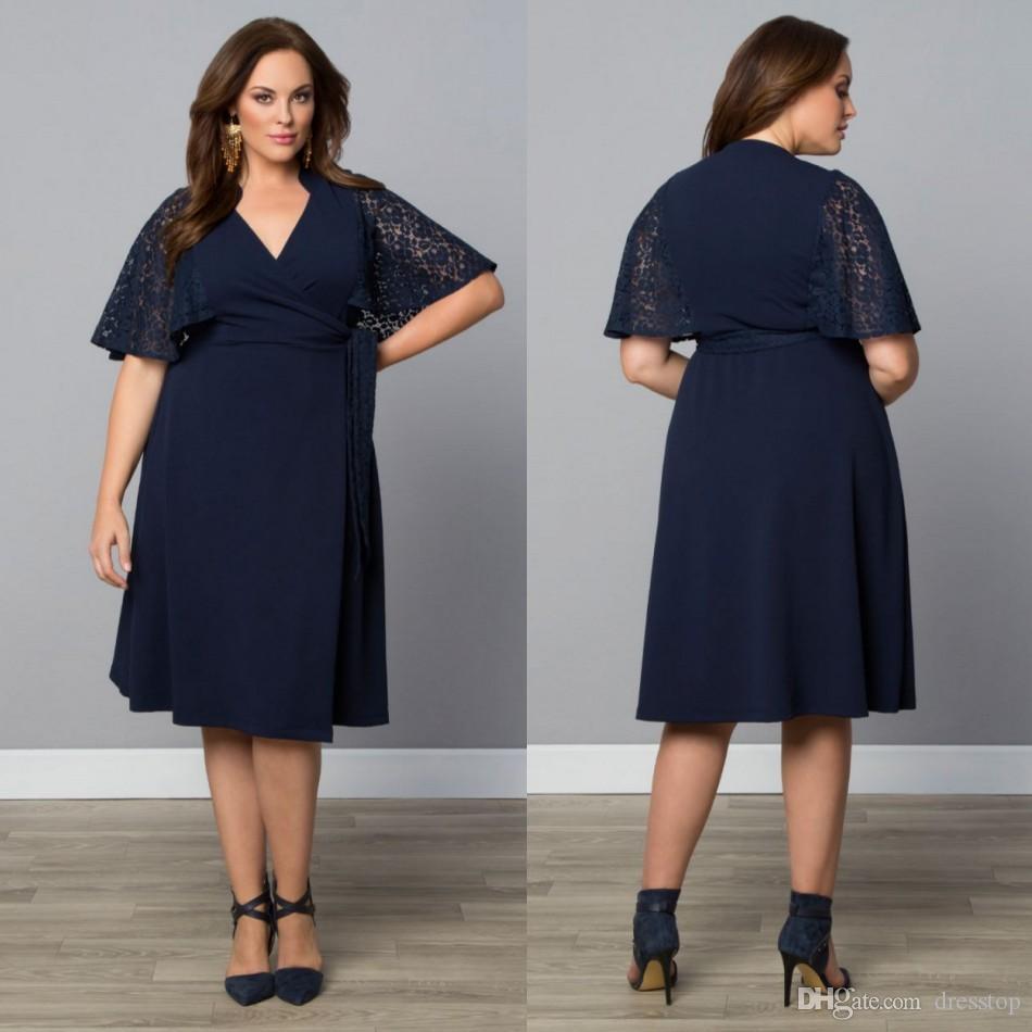 61410849c9d Großhandel Günstige Dark Navy Plus Size Abendkleider Lace Mutter Der ...