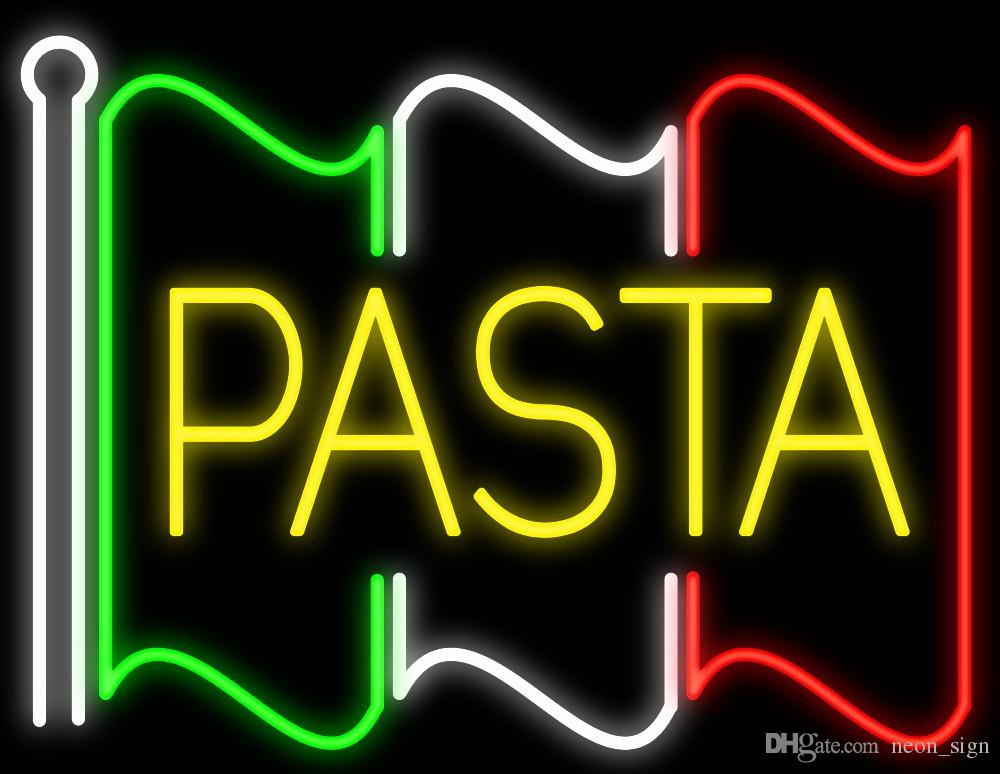 "Pasta Flag Neon Sign Custom Handmade Real Glass Tube Custom Restaurant Italian Food Stand Pasta Catering Service Display Neon Signs 24""X20"""