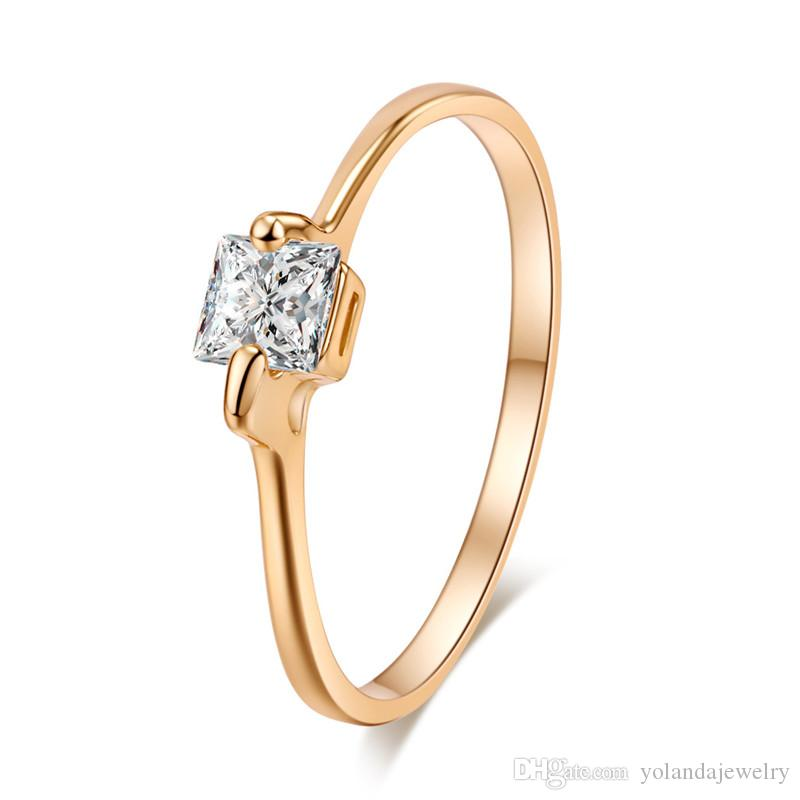 Simple Design Girls Ring 18K Yellow Gold Plated AAA Clear ...