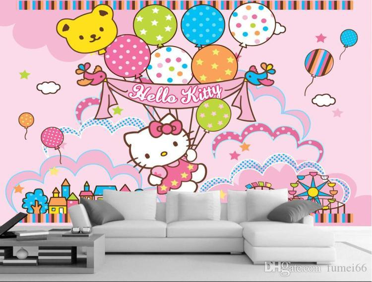 3d Large Frescoes Pink Kitty Hello Kitty Cartoon Wallpaper Wallpaper