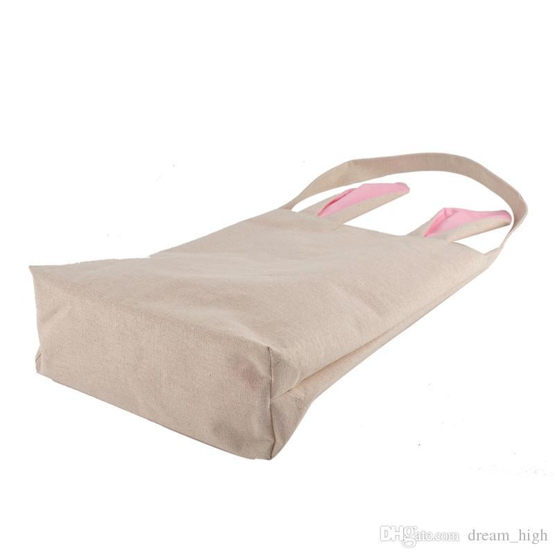 부활절 토끼 가방 듀얼 레이어 토끼 귀 디자인 바구니 캔버스 코 튼 토트 가방 Reticule 핸드백 부활절 / 파티에 대 한 운반 계란 / 선물