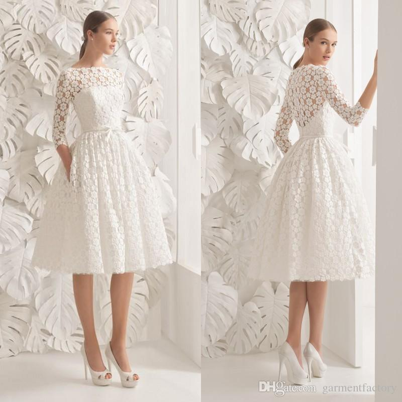 Discount gorgeous knee length wedding dresses bateau neck a line 3 discount gorgeous knee length wedding dresses bateau neck a line 3 4 length sleeves floral accent lace wedding dresses bridal gowns 2017 lace princess junglespirit Gallery
