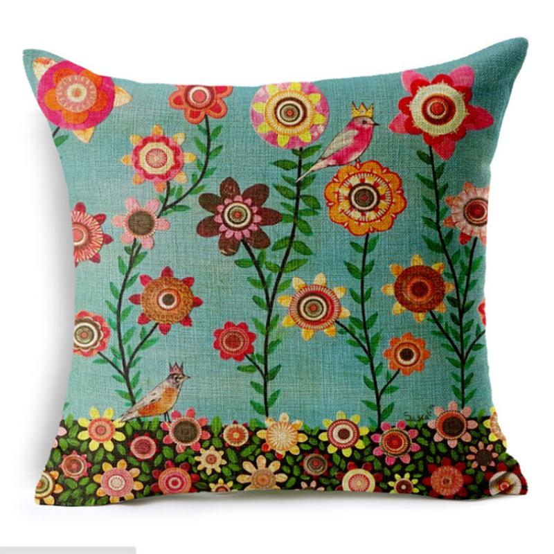 Hand Painting Tree Cushion Cover Children Gift 45*45cm Printed Pillowcase for Bed Seat Sofa Chair Living Room Home Decorative Linen Pillow C