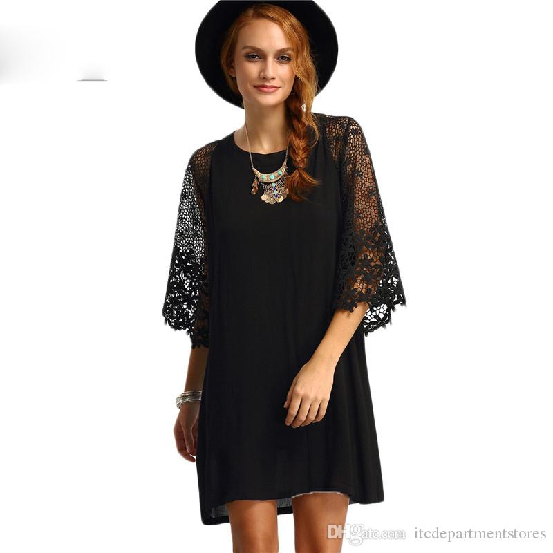 a3c8de5b7fc Womens Summer Shift Dresses Ladies Black Hollow Out Crochet Three Quarter  Length Sleeve Round Neck Casual Tunic Dress Ladies Cocktail Dress Teenage  Party ...