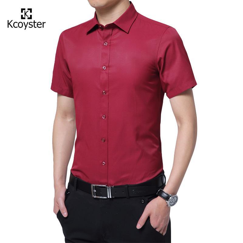 Compre Atacado Kcoyster Summer Dress Shirts Homens Short Sleeve Business  Work Camisas Homens Slim Fit Algodão Social Camisa Masculina Brand Clothing  De ... 861e886f440